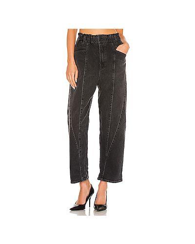 Черные джинсы бойфренды на молнии с поясом Free People