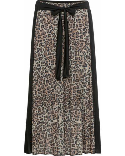 Плиссированная юбка леопардовая с поясом Bonprix
