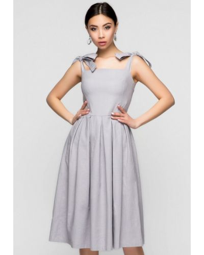 Платье миди весеннее серое A-dress
