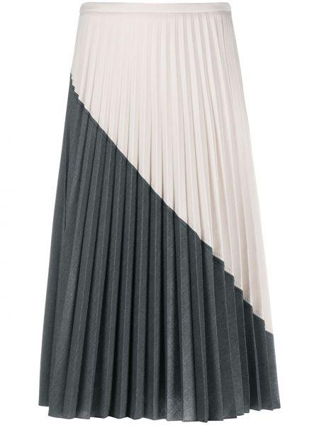 Плиссированная шерстяная серая с завышенной талией плиссированная юбка Piazza Sempione