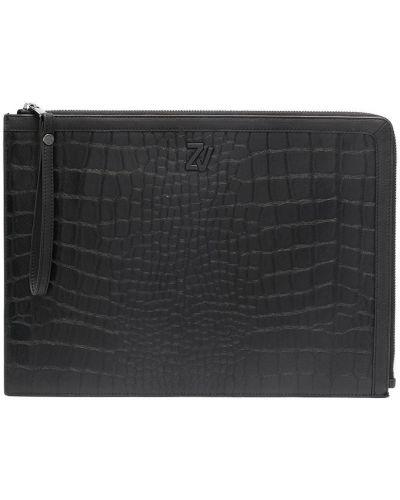 Черная кожаная сумка из крокодила с карманами Zadig&voltaire