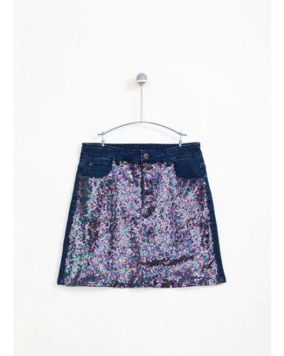Джинсовая юбка с узором хлопковая Lemon Explore