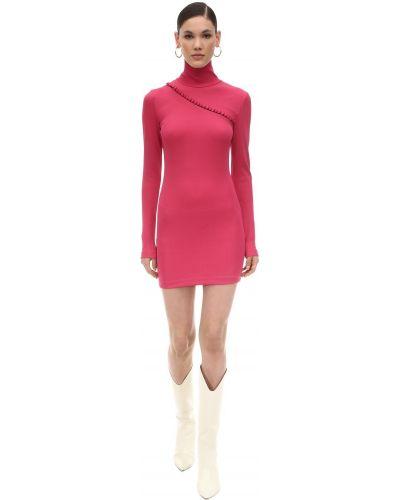 Платье макси с длинными рукавами - розовое Rotate