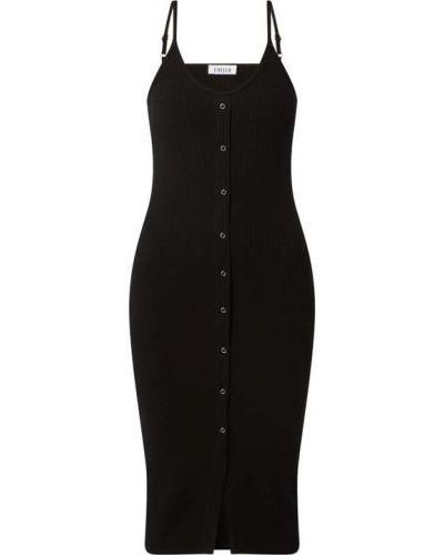 Prążkowana czarna sukienka z wiskozy Edited