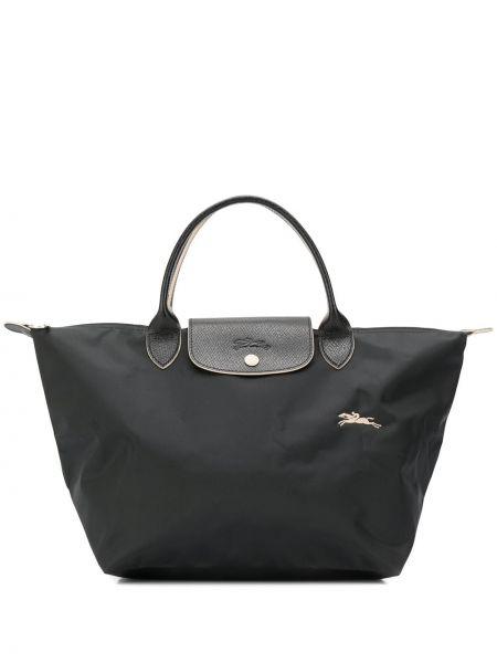 Czarna torba na ramię skórzana z haftem Longchamp