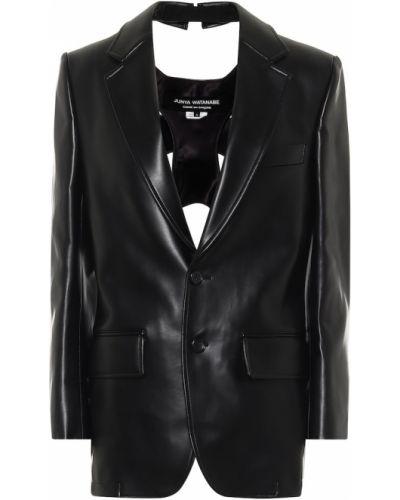 Черный кожаный пиджак Junya Watanabe