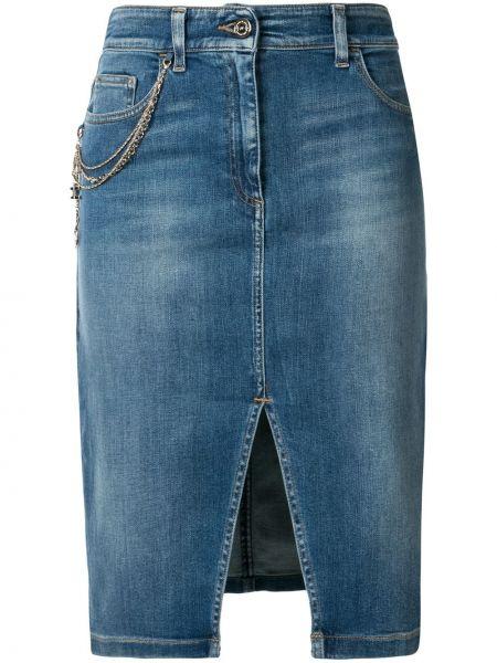 Джинсовая юбка с завышенной талией с цепочкой Elisabetta Franchi