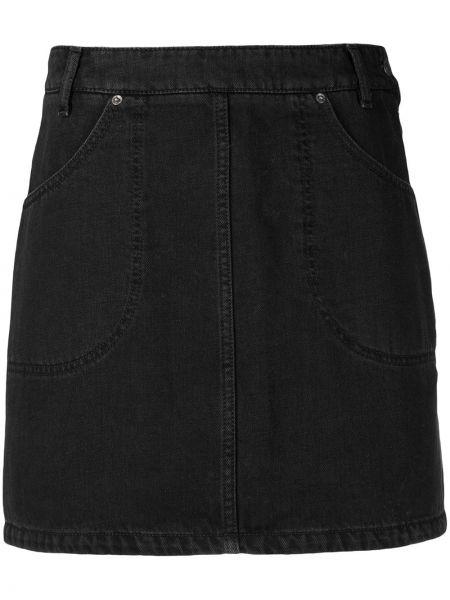 Черная прямая джинсовая юбка с карманами Kenzo