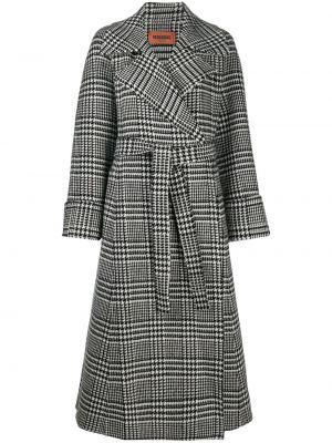 Шерстяное черное пальто классическое с лацканами Missoni