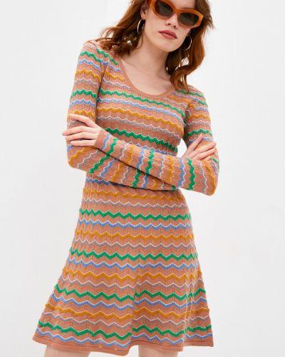 Бежевое трикотажное вязаное платье Missoni