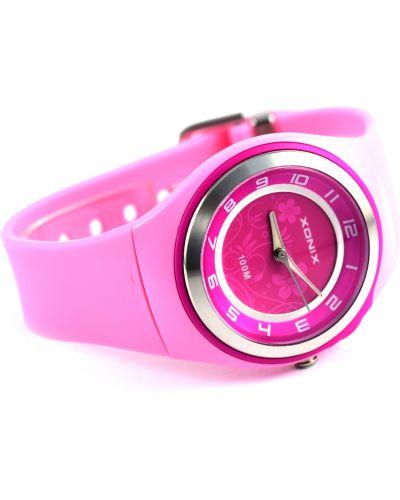 Różowy zegarek sportowy w kwiaty Xonix