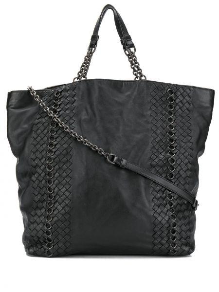 Черная сумка на цепочке металлическая на молнии с карманами Bottega Veneta Pre-owned