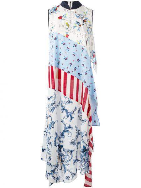 Niebieska sukienka długa z kapturem z wiskozy Antonio Marras