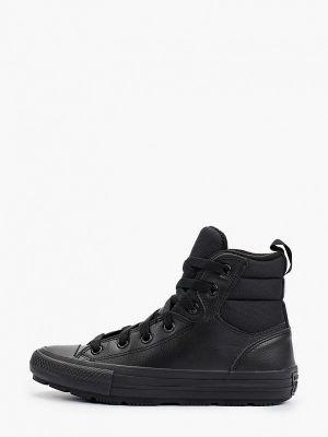 Черные кожаные высокие кеды Converse