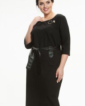 Кожаное платье - черное прима линия