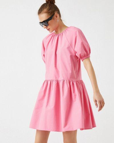 Прямое розовое платье А-силуэта Koton