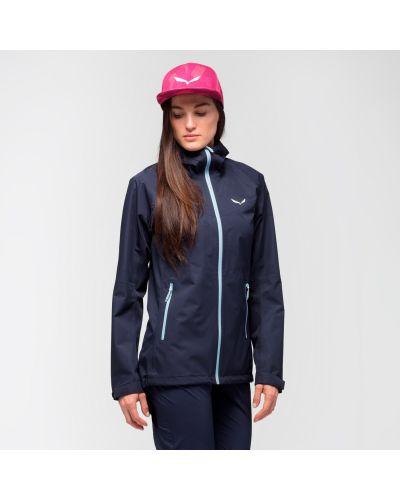 Синяя спортивная куртка с капюшоном туристическая Salewa