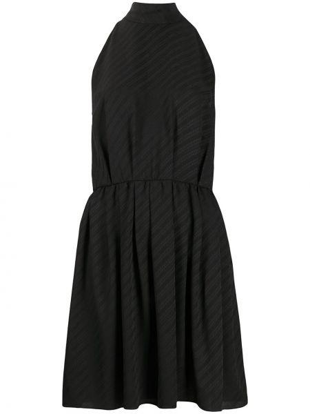 Черное расклешенное шелковое платье без рукавов Givenchy