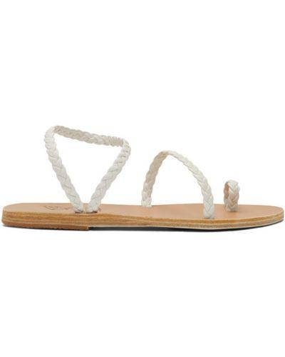 Skórzany biały sandały grecki okrągły okrągły nos Ancient Greek Sandals