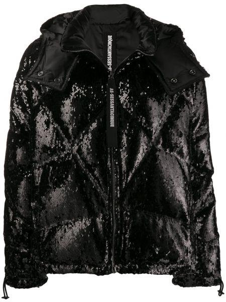 Черная длинная куртка с манжетами As65