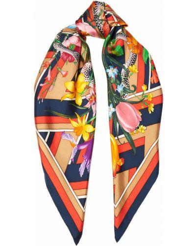 Шарф в полоску с цветочным принтом Gucci
