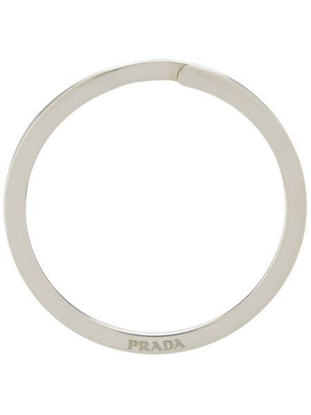 Брелок серебряный с логотипом Prada