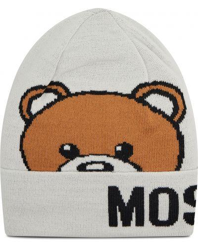 Biała czapka z akrylu Moschino