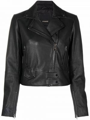 Кожаная куртка на молнии - черная Pinko