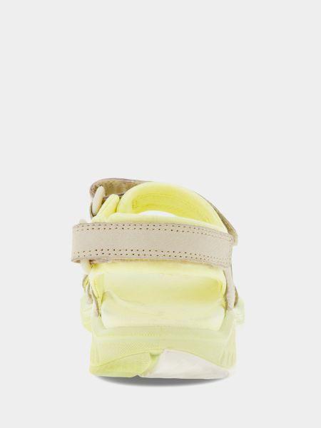 Желтые сандалии на липучках из нубука Ecco