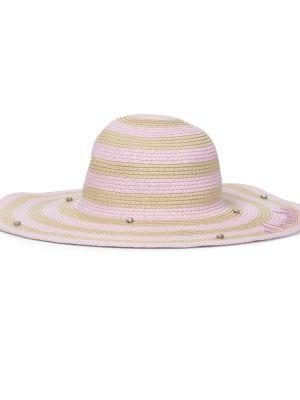 Słoma różowy kapelusz w paski Monnalisa