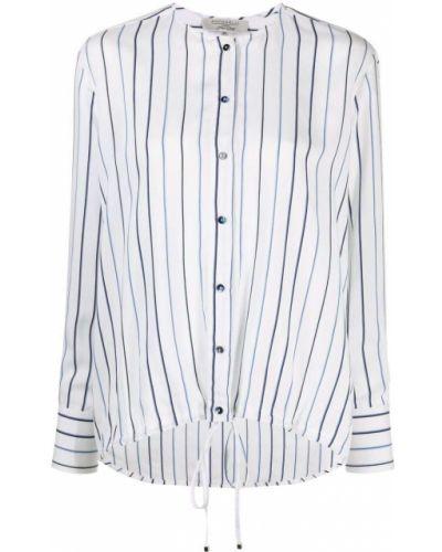 Шелковая белая рубашка в полоску Antonelli