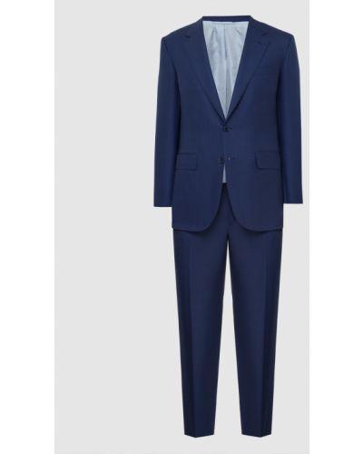 Костюмный шелковый синий костюм Stefano Ricci