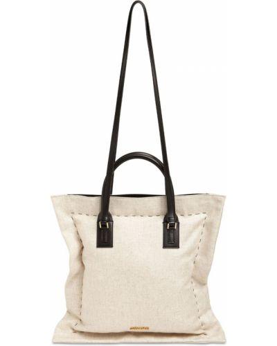 Кожаная бежевая сумка на плечо с подкладкой Jacquemus