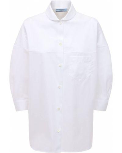 Biała koszula bawełniana z paskiem Prada