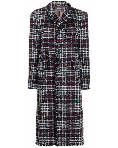 Синее шерстяное пальто классическое на пуговицах с лацканами Thom Browne