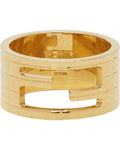 Мягкое кольцо золотое металлическое Fendi