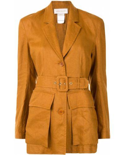 Льняной однобортный удлиненный пиджак с карманами Karen Walker
