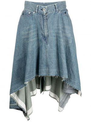 Хлопковая синяя джинсовая юбка с карманами Sacai