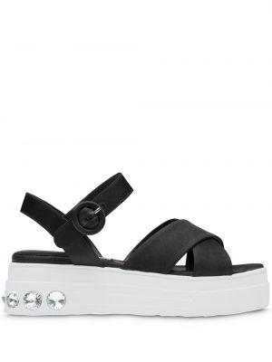 Czarne sandały skorzane Miu Miu