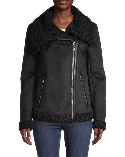 Черная длинная куртка из искусственного меха на молнии Dkny