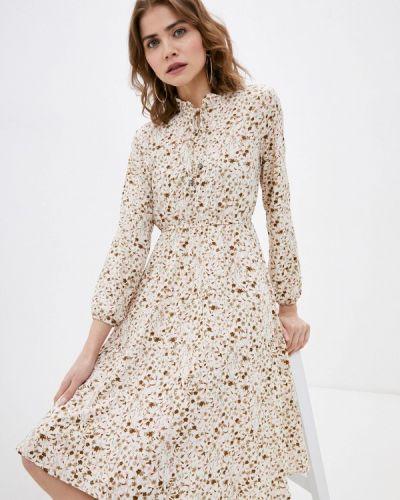 Прямое бежевое платье А-силуэта Froggi