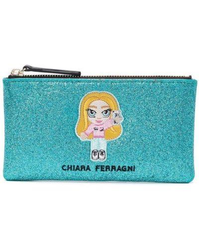 Синий клатч на молнии с вышивкой Chiara Ferragni Kids
