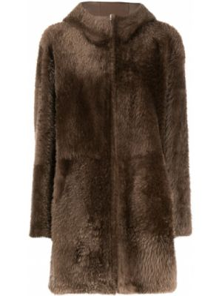 Коричневое кожаное пальто классическое с капюшоном Liska