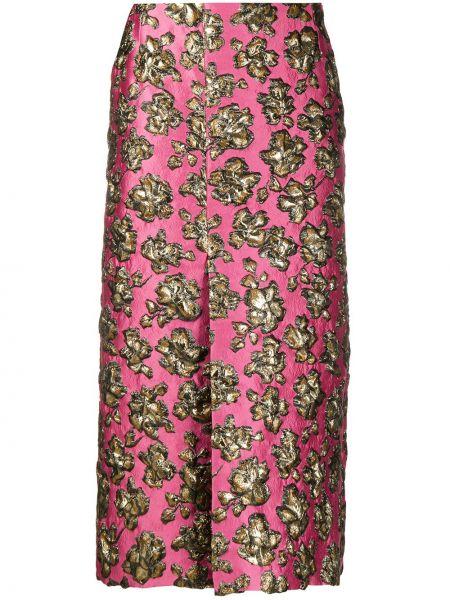 Шелковая розовая юбка миди с вышивкой с разрезом Colville