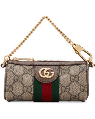 Brązowy skórzany torebka na łańcuszku z aplikacjami Gucci