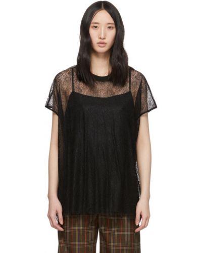 Черная кружевная блузка с короткими рукавами Mcq Alexander Mcqueen