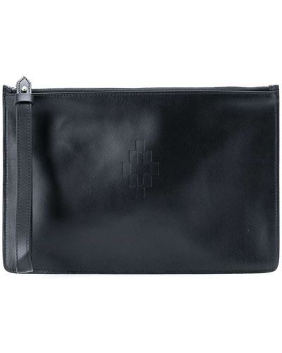 Czarny skórzany torba kosmetyczna wytłoczony Marcelo Burlon County Of Milan