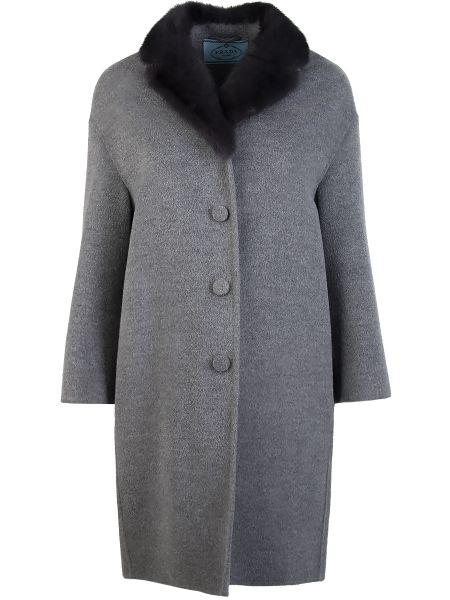Пальто серое из ангоры Prada