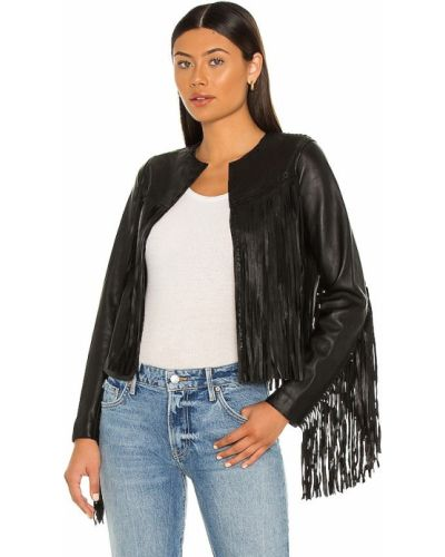 Кожаная куртка с бахромой - черная Allsaints