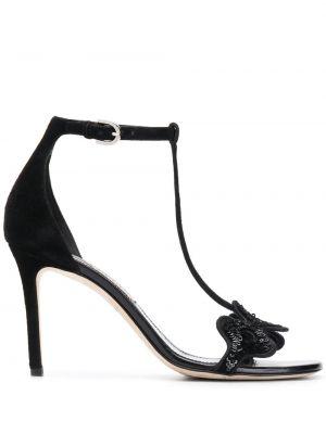 Sandały z klamrami czarne Emilio Pucci